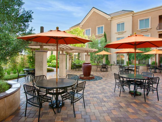 Ayres Hotel Chino Hills Exterior Patio Seating Area