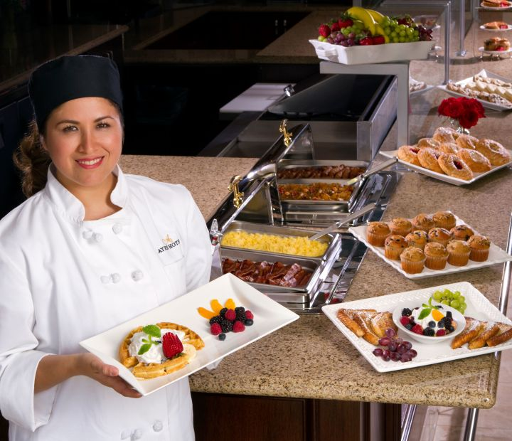 Ayres Hotel & Spa Moreno Valley Breakfast Spread Team Member